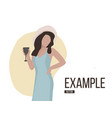 girl drinking wine flat consept casual weekend vector image