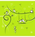 Green background with funny birds for your design vector | Price: 1 Credit (USD $1)