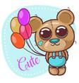 greeting card cute cartoon teddy bear with vector image vector image