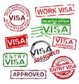 grunge rubber visa stamps vector image vector image