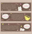hand drawn set of banners with cute cat and cup of vector image