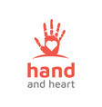 hand paint with heart love logo design vector image vector image