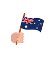 hand with flag australia icon on white background vector image
