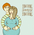 happy family waiting for a ba- pregnant woman and vector image vector image