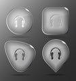 Headphones Glass buttons vector image