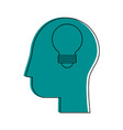 human head profile sideview with lightbulb insid vector image vector image