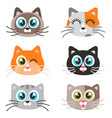 icons of cute cat faces isolated on white vector image vector image