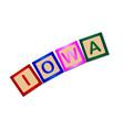 iowa wooden block letters vector image vector image