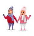 kids on winter vacation flat vector image vector image