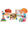 kids playing with math toy vector image