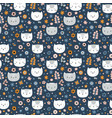 kids seamless pattern with cats funny animals on vector image vector image