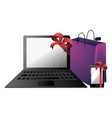 laptop gift cartoon vector image vector image