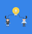 light bulb connect with businesspeople merge vector image