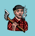 lumberjack with an ax in a red shirt feller or vector image vector image