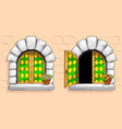 medieval window green stained glass white stones vector image vector image