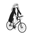 monochrome drawing of pretty young woman riding vector image vector image