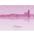Nantes skyline in purple radiant orchid vector image vector image