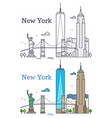new york city outline skyline nyc line silhouette vector image vector image