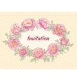 peonies frame on color background vector image vector image