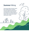 person with backpack trail walking summer hiking vector image vector image