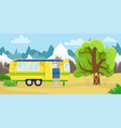 retro house on wheels for traveling car travel vector image