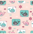 seamless pattern with cute whales and fish vector image vector image