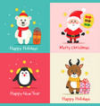 set christmas cards with cute characters vector image vector image