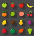 set of flat icons fresh natural fruits black vector image vector image