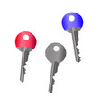 set of metal cylindrical keys red blue and silver vector image