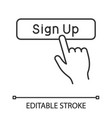 sign up button click linear icon vector image vector image