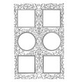 six-part frame have four square and two circle in vector image vector image