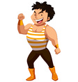 Strong man showing off muscles vector image