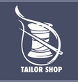 tailor fashion shop icon thread coil and needle vector image vector image