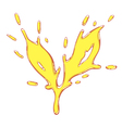 The tea leaf drawn liquid yellow splash vector image
