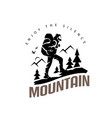 tourist climbs mountain symbol travel and vector image