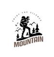 tourist climbs the mountain symbol travel vector image