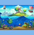 undersea world with inhabitants and island vector image vector image