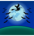 witch flying on broomstick pop art vector image