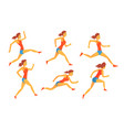 young woman dressed in sportswear running set vector image vector image
