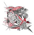 Zentangle flower black and red pattern vector image