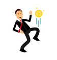 businessman character kicking dollar coin like vector image