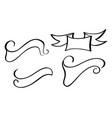 set vintage ribbon banner hand drawing vector image