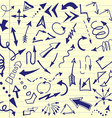 Set of hand drawn sketched arrows Doodle style vector image