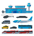 aviation transport terminal airport vehicles set vector image
