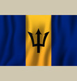 barbados realistic waving flag national country vector image vector image