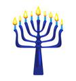 blue menorah icon cartoon style vector image vector image