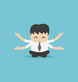 business people meditate to practice mindfulness vector image