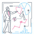 businessman showing a diagram - line design style vector image vector image