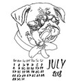 calendar with dry brush lettering july 2018 dog vector image vector image