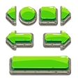 Cartoon green stone buttons for game or web design vector image